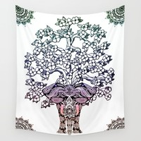 Indian Elephant Tree Of Life Wall Tapestry by Inspired Images