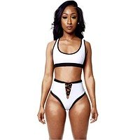 Sporty Scoop Top High Waist Neck Bikini