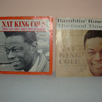 Vinyl Records 45 RPM Nat King Cole Ramblin' Rose & Those Lazy Hazy Crazy Days of Summer 60s Music Hits Set of Two 45 Records
