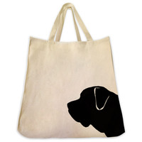 English Mastiff Silhouette Extra Large Eco Friendly Reusable Cotton Canvas Tote Bag
