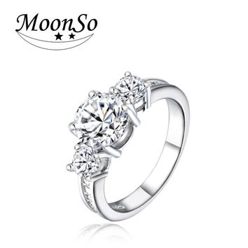 Moonso Three Stone CZ 925 Sterling Silver Engagement Rings Fashion Style 3 Carat Cubic Zirconia Rings Jewelry R1597
