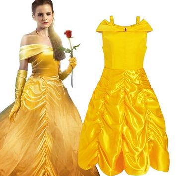 Teenage Child Princess Dress For Girl Halloween Party Cosplay Beauty Girl and the beast Elegant Children's Costumes Kid Clothing