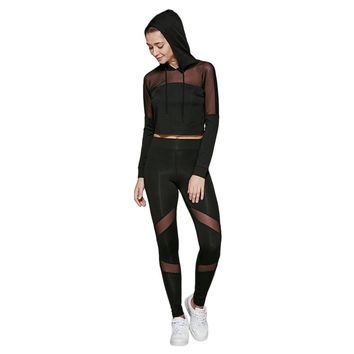 Slimming Cropped Hoodie with Mesh Spliced Leggings