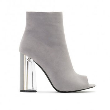 JENNY PERSPEX HEELED ANKLE BOOTS IN GREY FAUX SUEDE