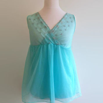 999e35821 Short blue vintage nightgown - turquoise babydoll nightie - e.