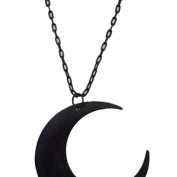 Goth Occult Gothic Luna Large Crescent Moon Matte Black Occult Witch Necklace