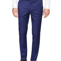 Aspetto Men's Flat Front Trousers - Dark Blue/Navy -