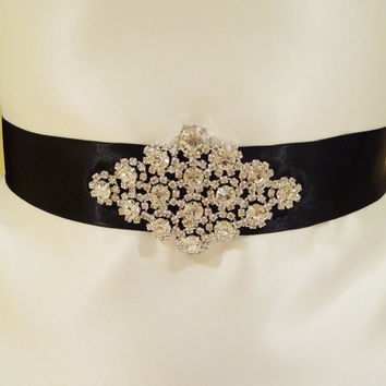 Bridal Rhinestone Sash CALISTA Wedding by BellaCescaBoutique