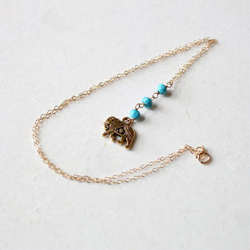 Turquoise and Elephant Gold Necklace