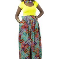 African Maxi Skirt - Maze Print Blue, Teal, Red and Yellow
