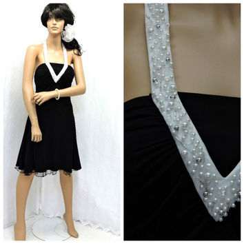 Vintage 80s black halter dress size 5 / 7 black white beaded party cocktail halter dress Betsy and Adam little black dress SunnyBohoVintage