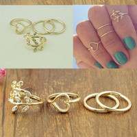 4PCS/Set Cute Urban Crystal Plain Above Knuckle Ring Band Midi Ring Gold/Silver Jewelry New Gift