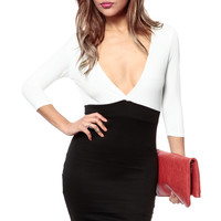 Color Blocked In Ivory Body Con Dress