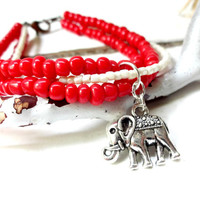 Cute Coral and Cream Multi Strand Elephant Charm Bracelet