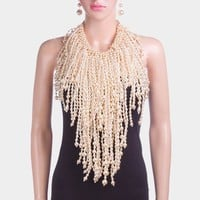 Pearl Fringe Bib Necklace