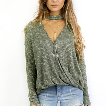 Deja Vu Olive Green Long Sleeve Choker Top with Surplice Detail