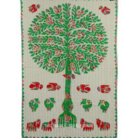 "34""X54"" Handmade Appliqued Tree of Life Fabric Cloth Tapestry Wall Hanging on RoyalFurnish.com"
