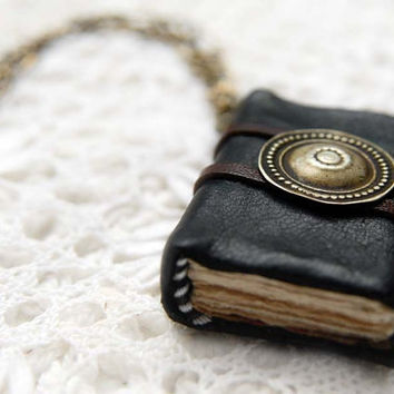 Turkoman  Mini Black Leather Wearable Book with by bibliographica