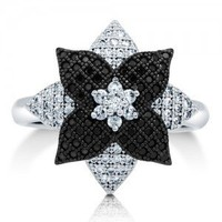 Cubic Zirconia CZ 925 Sterling Silver 2-Tone Flower Fashion Ring #r657