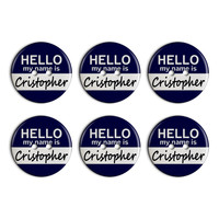 Cristopher Hello My Name Is Plastic Resin Button Set of 6