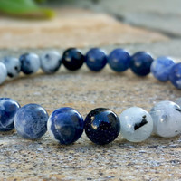 Clarity & Intention, Friendship Unisex Gemstone Bracelet, High Quality Moonstone, Blue Goldstone, Sodalite Beaded Bracelet,Yoga Bracelet