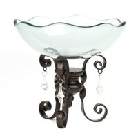 Glass Bowl with Chandelier Scroll Stand | Kirklands