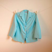 Vintage. 50's. Turquoise Blue Lightweight Blazer. Collar. Darted. 3/4 Sleeves. Button Up. Retro. Medium M
