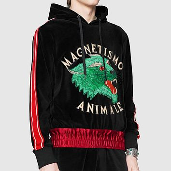 GUCCI Newest Fashion Women Men Casual Wolf Head Embroidery Long Sleeve Hooded Sweater Top Sweatshirt I-A00FS-GJ