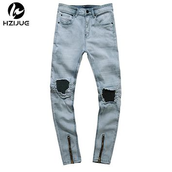 Denim pants Zipper Skinny Casual Men's Slim Fit Jogger Jeans  Snowflake Whitish Washed Spliced Hole Men Jeans