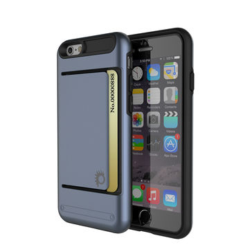 iPhone 6/6s Case PunkCase CLUTCH Navy Series Slim Armor Soft Cover Case w/ Tempered Glass