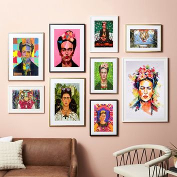 Frida Kahlo Self Portrait Canvas Art Print Painting Poster Wall Pictures For Room Decoration Home Decor Silk Fabric No Frame