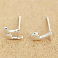 Small Asymmetrical Music Note Stud Earrings - Small Stud Earrings - Sterling Silver Stud Earrings
