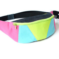 Fanny pack for cyclists hikers runners festival waist bag belt bag hip bag by BartekDesign - blue neon pop pink lime green geometric