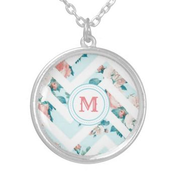 Blue Floral Monogram Chevron Pattern Necklace