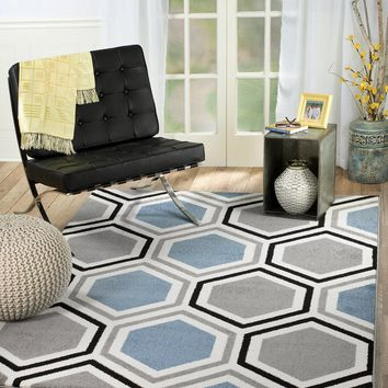 2074 Light Blue Geometric Contemporary Area Rugs