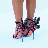 Crystal Butterfly Wing Open Toe Party Wedding High Heels Sandals