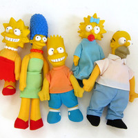 Vintage 1990s the simpsons doll collection, cartoons, dolls,1990s kid, homer simpson, maggie, bart, lisa