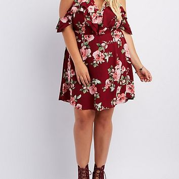Plus Size Floral Ruffle Cold Shoulder Dress