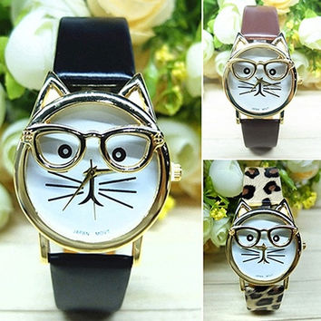 Women Men's fashion Cute Glasses Cat Case Leather Strap Bracelet Analog Quartz Casual Cool Wrist Watch (With Thanksgiving&Christmas Gift Box)= 1956371908