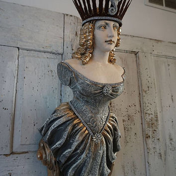 Bow maiden ship figurehead statue w/ ornate crown French Nordic nautical hand painted woman's figure wall hanging decor anita spero design