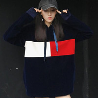 2016 New Fashion Women Red White Long Sleeve Casual Navy Loose Street Style Velvet Hoodies