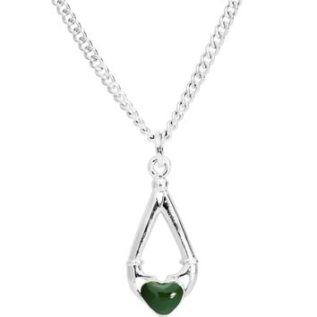 Green Heart Claddagh Necklace