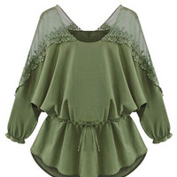 Olive Green Sheer Panel Lace Trims Tie Waist 3/4 Sleeve Blouse