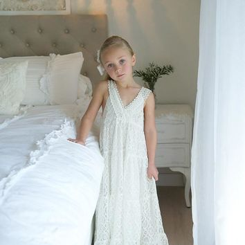 2016 Summery kids prom dresses empire beach wedding romantic lace maxi flower girl dresses at weddings girls boho dresses