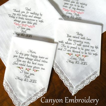 wedding handkerchiefs parents of the bride groom gifts wedding