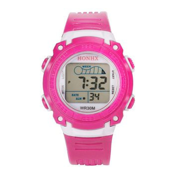HONHX Luxury Brand LED Watches Outdoor Multifunction Waterproof Child/Boy's/Girl's Sports Electronic Watches