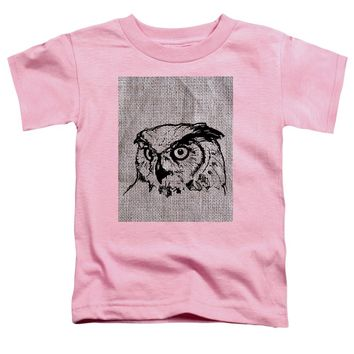 Owl On Burlap - Toddler T-Shirt