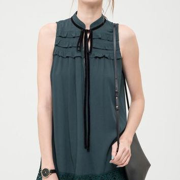 Felix Sleeveless Ruffle Top Blouse