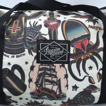 Liquorbrand Flash Neo Traditional Tattoo Art Kraken Ship Oversized Duffle Bag