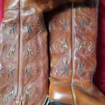 VTG WOMENS ACME COWBOY LEATHER brown high BOOTS SIZE 6.5 M EUC GAB